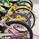 Le biciclette variopinte stanno su un parcheggio per affitto Fotografie Stock