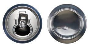 Le bidon ouvert et le bas d'aluminium bleu peuvent Photo stock
