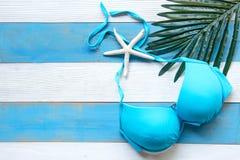 Le bikini de maillot de bain de femme de mode d'été avec le vert laisse la noix de coco Mer tropicale Vue supérieure peu commune, photo libre de droits