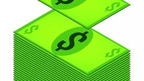 Le billet d'un dollar tombe sur un fond blanc, isom?trique, isolat illustration libre de droits