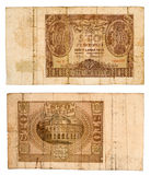 Le billet de banque 1940 de 100 Zlotych de Pologne a isolé sur le blanc Photographie stock