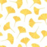 Le biloba de Ginkgo laisse le modèle sans couture Vecteur réglé dans le style plat illustration libre de droits