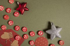 Le bingo-test de Noël numérote le style plat photos libres de droits