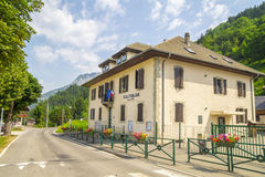 Le Biot - village in the French Alps mountains. Region touristic Portes du Soleil,summer and winter attraction for many tourists . Here - school building Stock Image