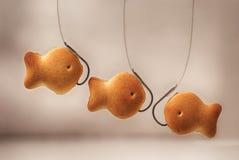 Le biscuit de biscuits sous forme de poissons sur un hameçon et une ligne de pêche a brouillé le plan rapproché léger de fond Image libre de droits