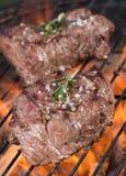 Le bistecche di manzo arrostite deliziose su un barbecue grigliano fotografia stock libera da diritti