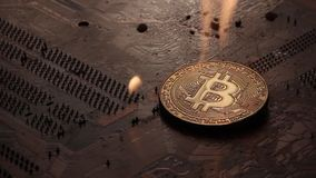 Le Bitcoin d'or brûle avec le feu sur les voies du conseil électronique banque de vidéos