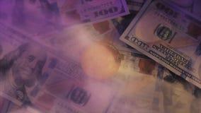 Le bitcoin d'or sur dollar US affiche le concept d'échange d'argent électronique banque de vidéos