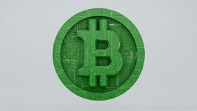 Le bitcoin de Digital se composant d'une carte électronique 3d rendent Images stock