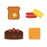 Le blé figé cuit au four frais de boulangerie d'isolement par icônes de produits de pain de macaron de vecteur grillent la nutrit Photographie stock