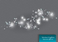 Le blanc étincelle et l'effet de la lumière spécial de scintillement d'étoiles Particules de poussière magiques de scintillement Images libres de droits