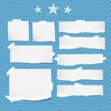 Le blanc a déchiré le carnet, feuilles communes, étoiles coincées avec la bande collante sur le modèle pointillé de bleu Images libres de droits