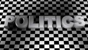 Le blanc de la POLITIQUE écrivent sur la surface carrée - le rendu 3D Image libre de droits