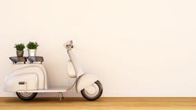 Le blanc de perle de scooter de vintage avec l'usine sur floor-3D en bois rendent Photos stock