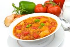 Le blanc de poulet potage-cuisent avec le légume mélangé photo stock
