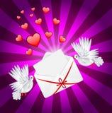 Le blanc deux un pigeon est enveloppe portée illustration de vecteur