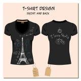 Le blanc et le noir conçoivent le T-shirts de la fille, avec le label, vecteur illustration stock