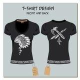 Le blanc et le noir conçoivent le T-shirts de la fille, avec le label, vecteur illustration libre de droits