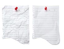 le blanc mentionnent le papier de note à deux Images stock