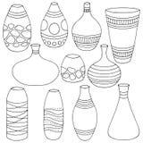 Le blanc noir graphique réglé de vase a isolé le vecteur d'illustration de croquis illustration de vecteur