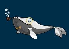 Le blanc a peint la baleine heureuse avec un vecteur de tuyau de tabagisme Photo stock