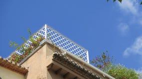 Le blanc a peint la bordure de terrasse de toit avec des transitoires de pigeon images libres de droits
