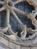 Le blanc a plongé se reposant sur la vieille fenêtre rose de l'église romane Photographie stock libre de droits