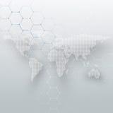 Le blanc a pointillé la carte du monde, les canalisations de raccordement et les points sur le fond gris de couleur Modèle de chi illustration libre de droits