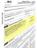 le blanc vide de la forme w-9, 2011 imposent le paiement Photos libres de droits