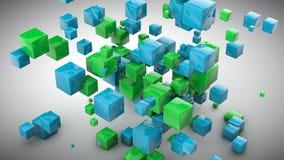 Le bleu abstrait cube le fond Photos libres de droits