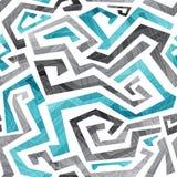 Le bleu abstrait incurvé raye le modèle sans couture Image libre de droits