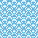 Le bleu abstrait ondule le modèle sans couture Photographie stock