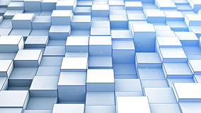 Le bleu aléatoirement expulsé cube 3D abstrait rendent Photographie stock