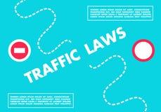 Le bleu conduisant des lois horizontales du trafic de bannière dirigent l'illustration Image libre de droits