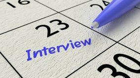 Le bleu d'entrée de calendrier d'entrevue d'emploi ballpen Images stock