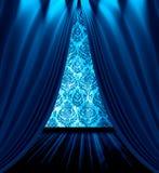 Le bleu drape la pièce Images libres de droits