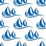 Le bleu fait de la navigation de plaisance le modèle sans couture Images libres de droits