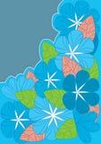 Le bleu fleurit des lignes type Images stock