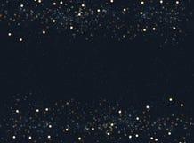 Le bleu marine abstrait a brouillé le fond avec le glitte de bokeh et d'or illustration stock