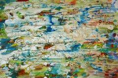 Le bleu mou argenté repère le fond, la peinture cireuse boueuse de scintillement, fond de formes de contraste dans des tonalités  Photographie stock libre de droits
