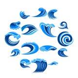 Le bleu ondule des icônes réglées, style simple Photo stock