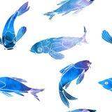 Le bleu sans couture de vecteur de modèle pêche des carpes de koi illustration stock