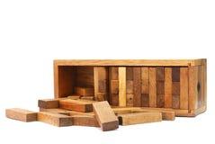 Le bloc en bois sur le fond blanc Photo stock