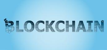 Le blockchain d'inscription avec un fond bleu-clair de gradient Images stock