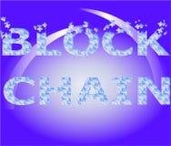 Le blockchain d'inscription avec un fond bleu-clair de gradient Photos stock
