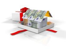 le boîte-cadeau dans la maison des billets de banque sur un fond blanc, 3d rendent Photographie stock