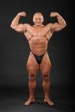 Le bodybuilder déshabillé explique des muscles de bras Photo libre de droits