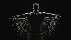 Le Bodybuilder noir et blanc de concept tournant augmenter de retour remet p Images libres de droits