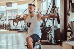 Le bodybuilder puissant attirant fait des exercices sur les appareils s'exer?ants image libre de droits