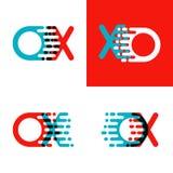 Le BOEUF marque avec des lettres le logo avec l'accent pour expédier en rouge et bleu illustration de vecteur